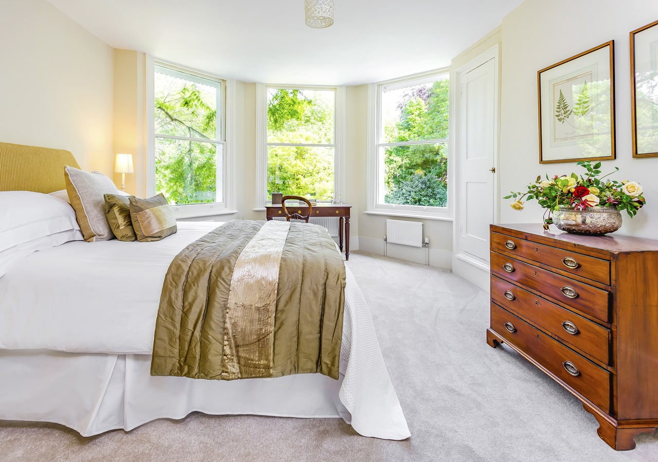 A classic contemporary Dulwich Townhouse bedroom Home Staged by Cullum Design | London UK