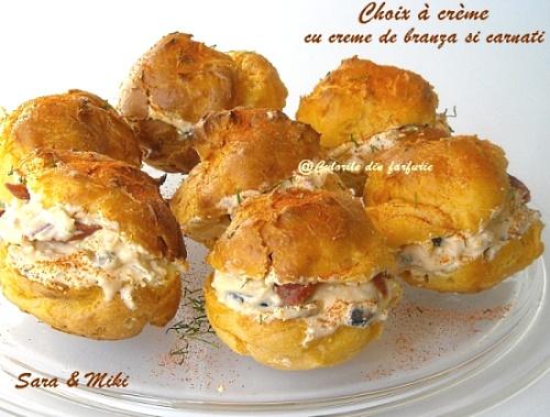 Choix à crème cu crema de branza si carnati 1