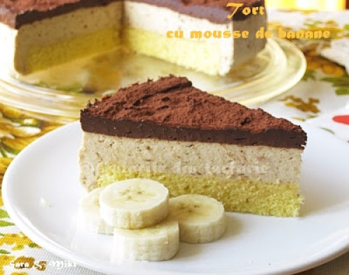 Tort-cu-mousse-de-banane-si-ganache-de-ciocolata-1