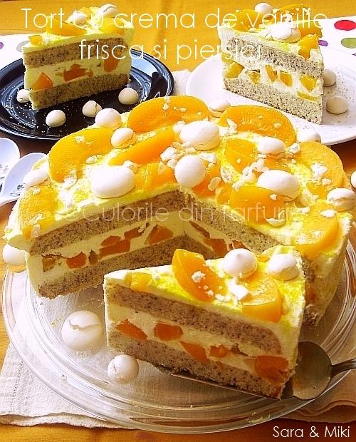 Tort-cu-crema-de vanilie, frisca-s-piersici 0
