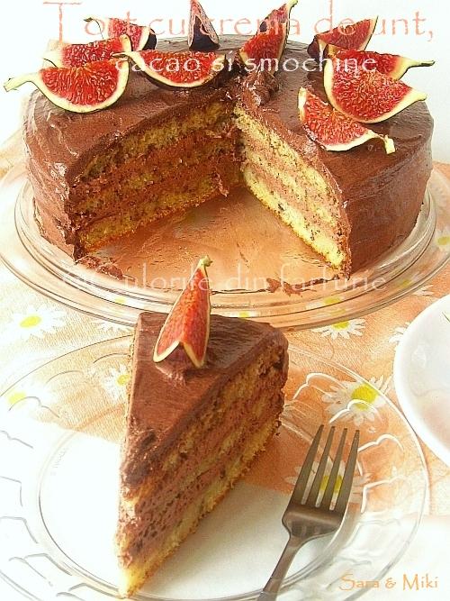 Tort-cu-crema-de-unt, cacao-si-smochine 0