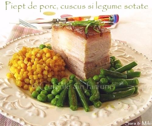 Piept de porc, cuscus si legume sotate 2-1