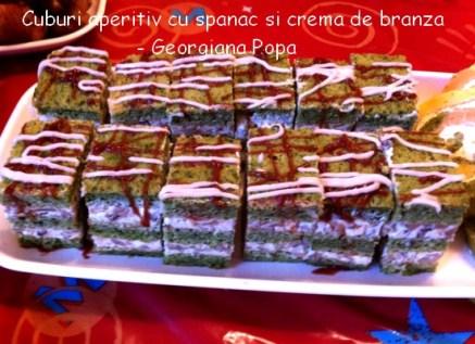Cuburi aperitiv cu spanac si crema de branza - Georgiana Popa