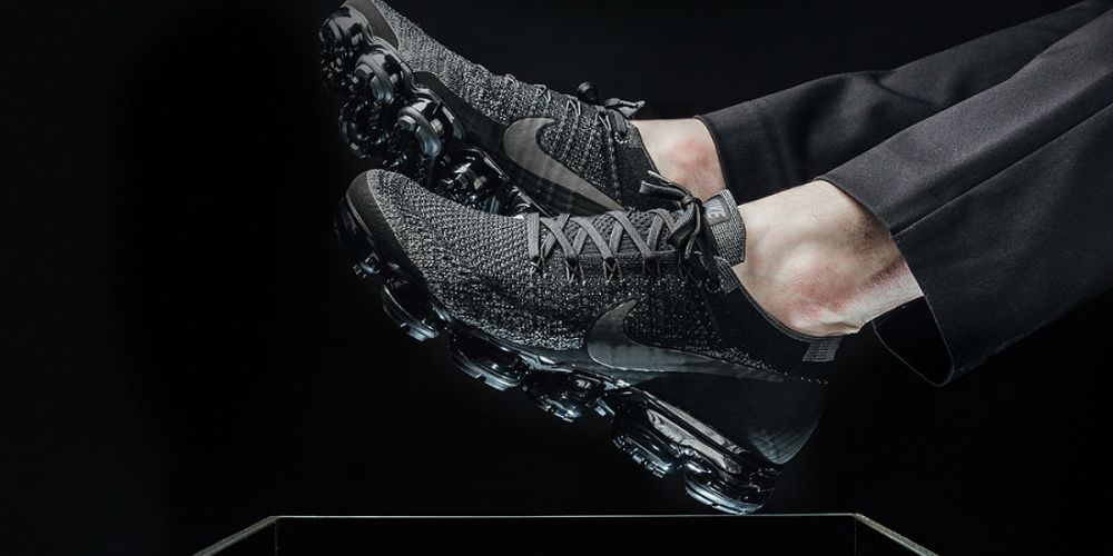 Nike Air VaporMax triple black on feet
