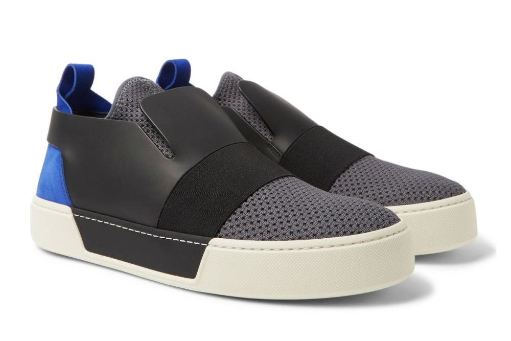 balenciaga leather suede mesh slip-on