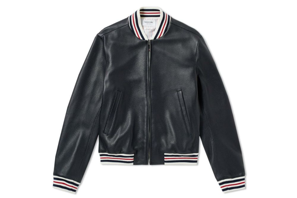 THOM BROWNE DEERSKIN LEATHER VARSITY JACKET