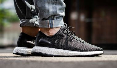 adidas Pure Boost Core Black on foot