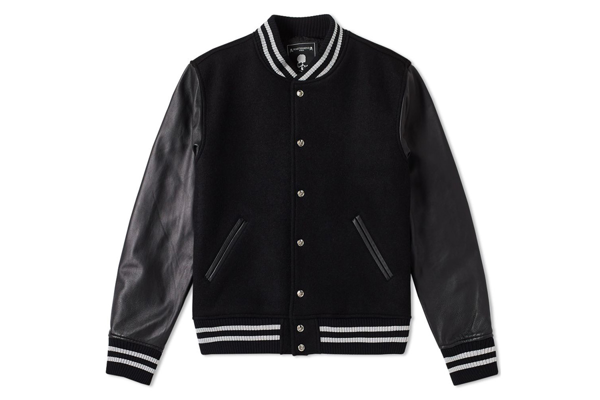 mastermind japan leather cashmere varsity jacket black
