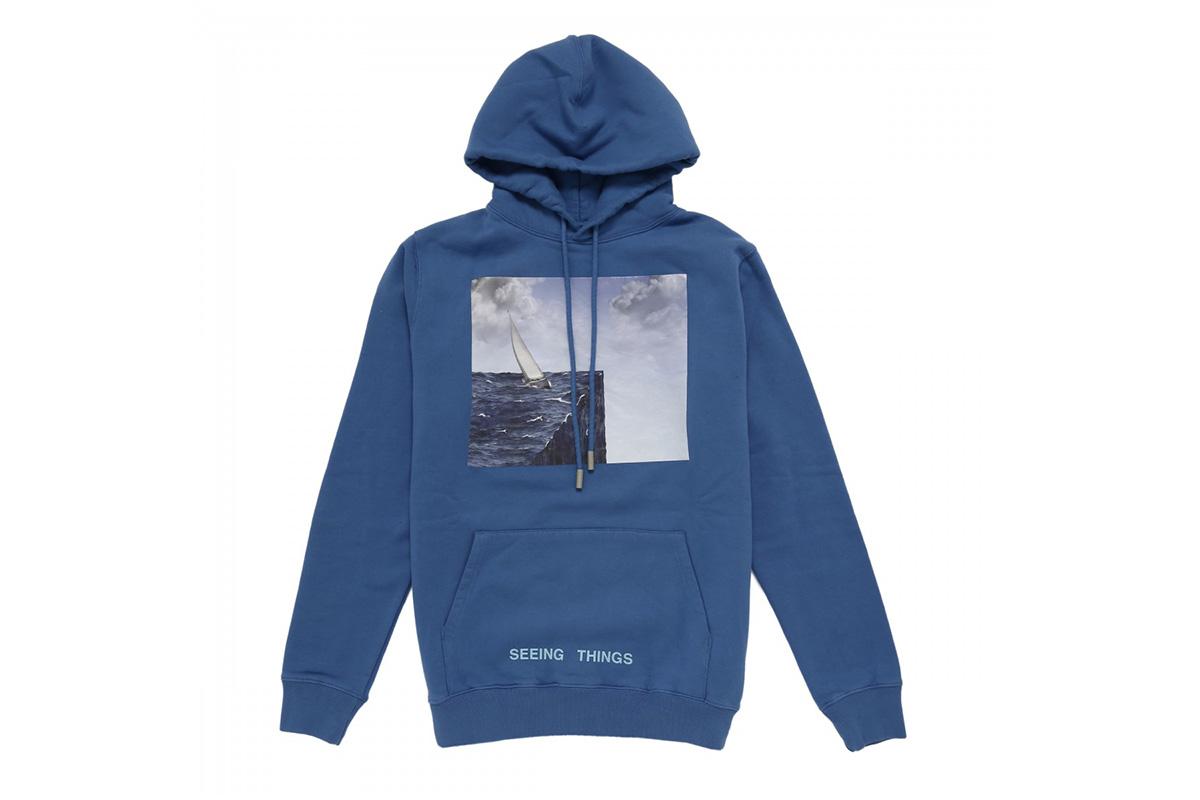 off white sea print blue hoodie