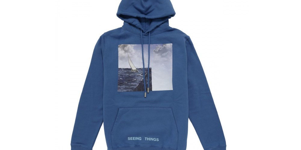 off white sea print blue hoodie