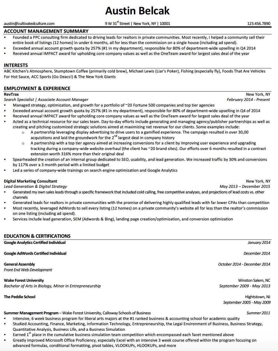 Austin Belcak Resume Example