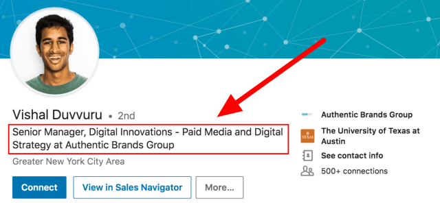 Example of great linkedin headline - Cultivated Culture