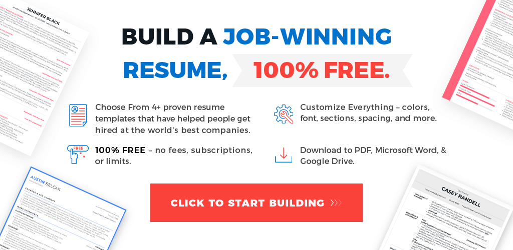 Free Resume Templates No Fees
