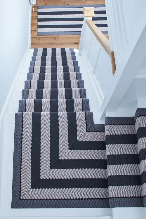 35 Stunning Stair Carpet Runner Ideas For Safety And Beauty   Blue Carpet On Stairs   Wooden   Grey Stair White Wall   Antelope   Geometric   Gray