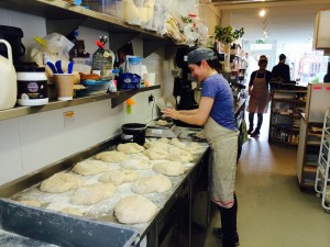 Lindsey preparing the loaves for the next day