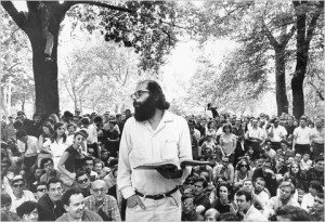 Allen Ginsberg reading his poems to the crowd in Washington Square Park in 1966.