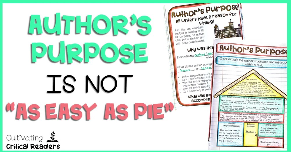 medium resolution of Author's Purpose Is NOT \As Easy As PIE\   Cultivating Critical Readers