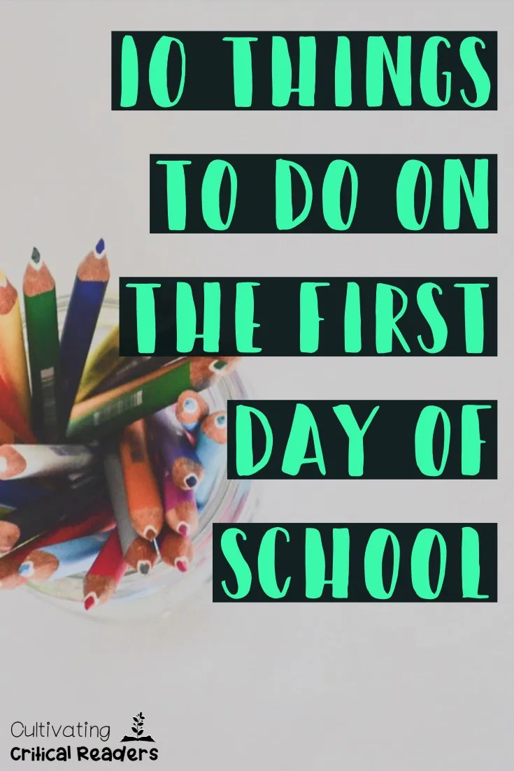 Back to School 10 Things to Do on the First Day of School Pin