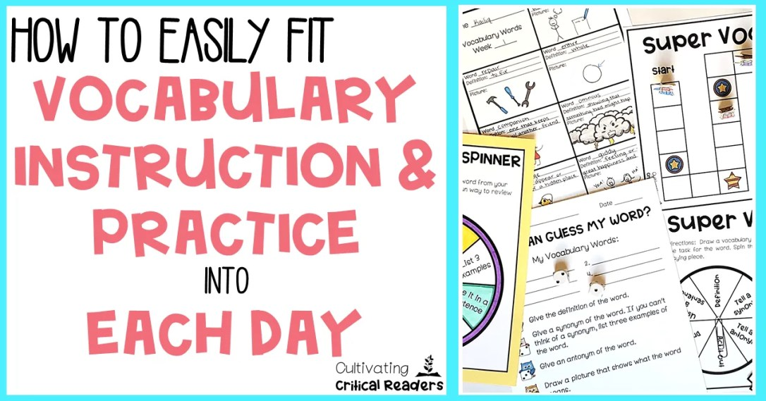 How to Easily Fit Vocabulary Instruction and Practice into Each Day Post Image | Best for second grade reading, third grade reading, and fourth grade reading