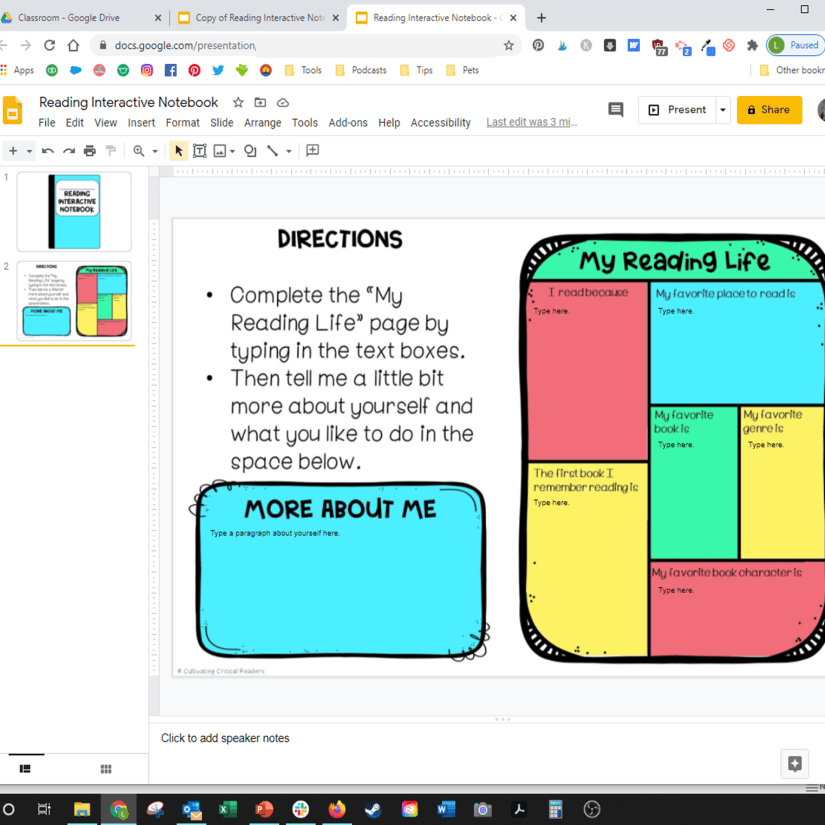 Choose which slides you want from the reading interactive notebook.