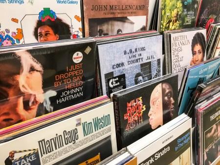An assortment of vinyl records.
