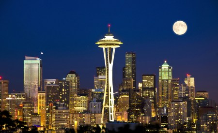 A picture of the Seattle skyline.