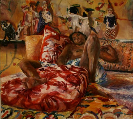 A painting of a black woman touching herself sexually. The piece was created by Natalie Frank.