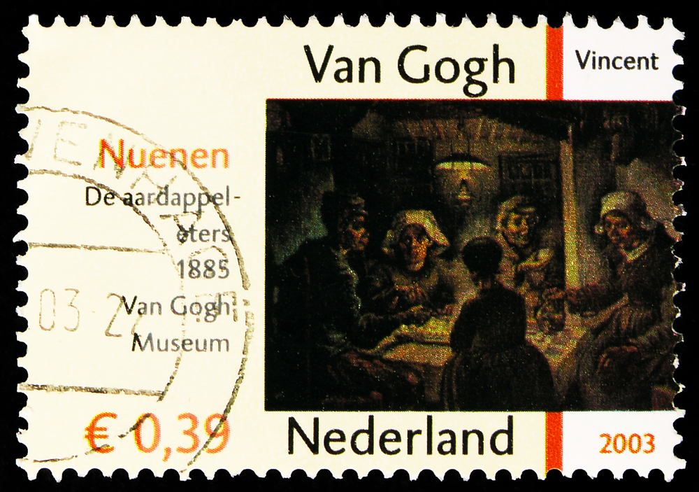"""Van Gogh's """"The Potato Eaters"""" on a postage stamp"""