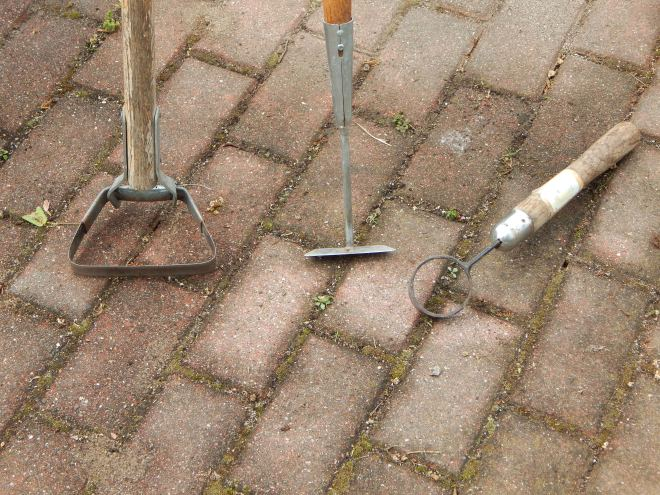 THREE OF MY FAVORITE TOOLS,  STIRRUP HOE,  COLLINEAR HOE AND CIRCLE WEEDER