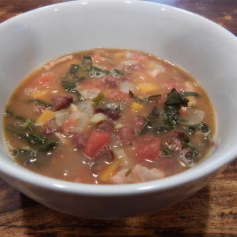 GREG'S GARDEN PARTY CHICKEN SOUP WITH BEANS AND KALE