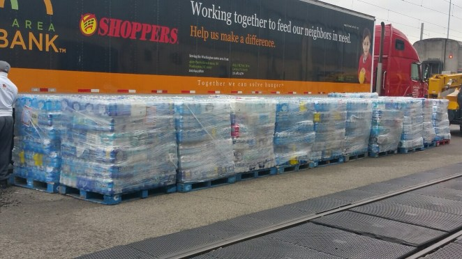 The bountiful donation from Prince George County, MD, for the #AmtrakCares Flint water train