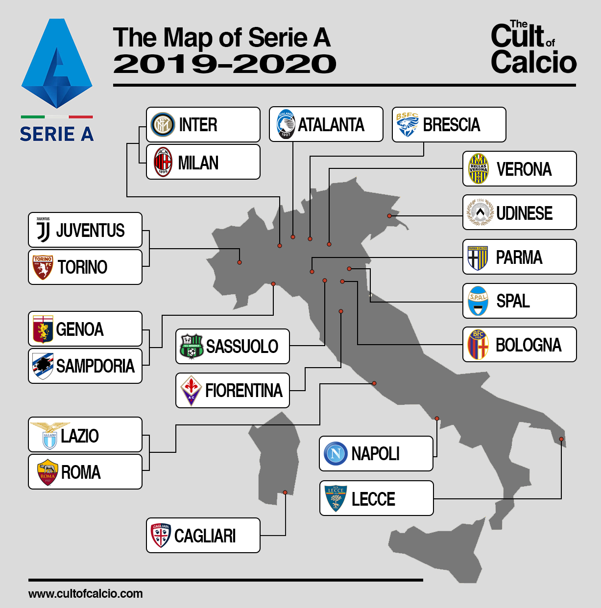 The Cult Of Calcio S Map Of Serie A 2019 2020 The Cult Of Calcio