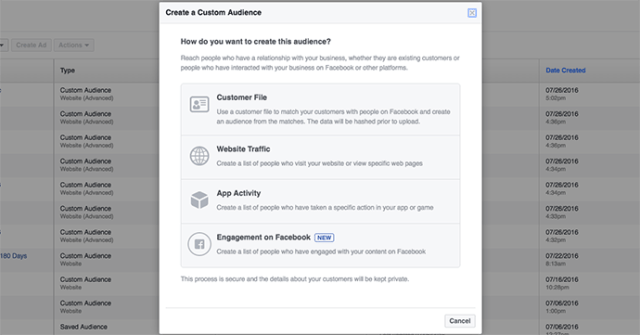 Target users by Time Facebook custom audiences