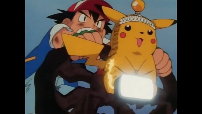 pikachu and ash on a bike