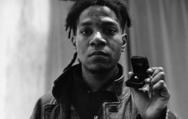Artist Jean-Michel Basquiat Holding Engagement Ring