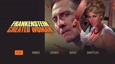 Frankenstein Created Woman Blu-ray menu