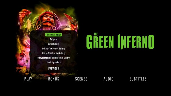 The Green Inferno extras menu 2