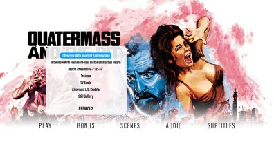 Quatermass and the Pit extras menu 2
