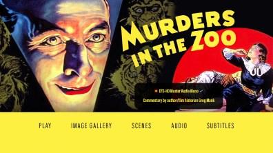 Murders in the Zoo audio menu