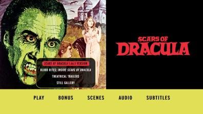 Scars of Dracula extras menu