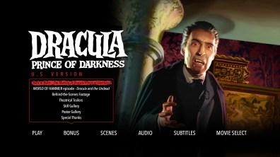 Dracula Prince of Darkness Bonus Menu