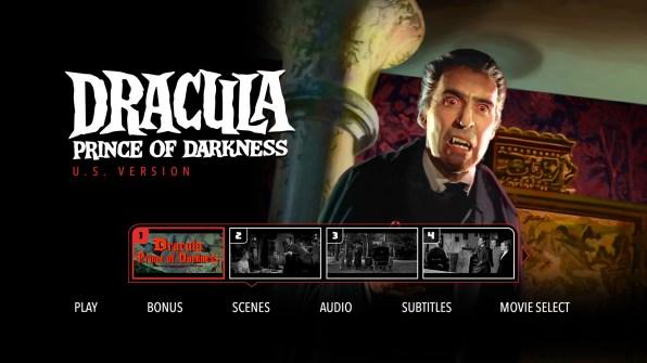 Dracula Prince of Darkness Chapter Menu