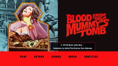 Blood from the Mummy's Tomb audio menu