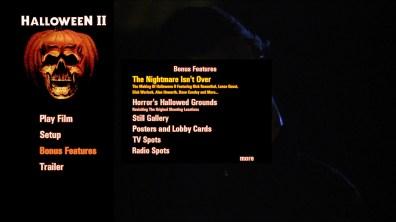 Halloween II steelbook extras menu 1