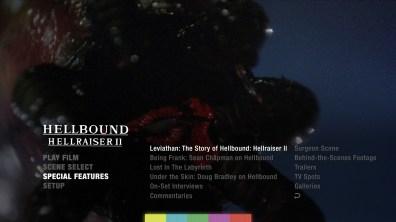 Hellbound: Hellraiser II extras menu