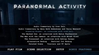 Paranormal Activity Blu-ray Extras Menu