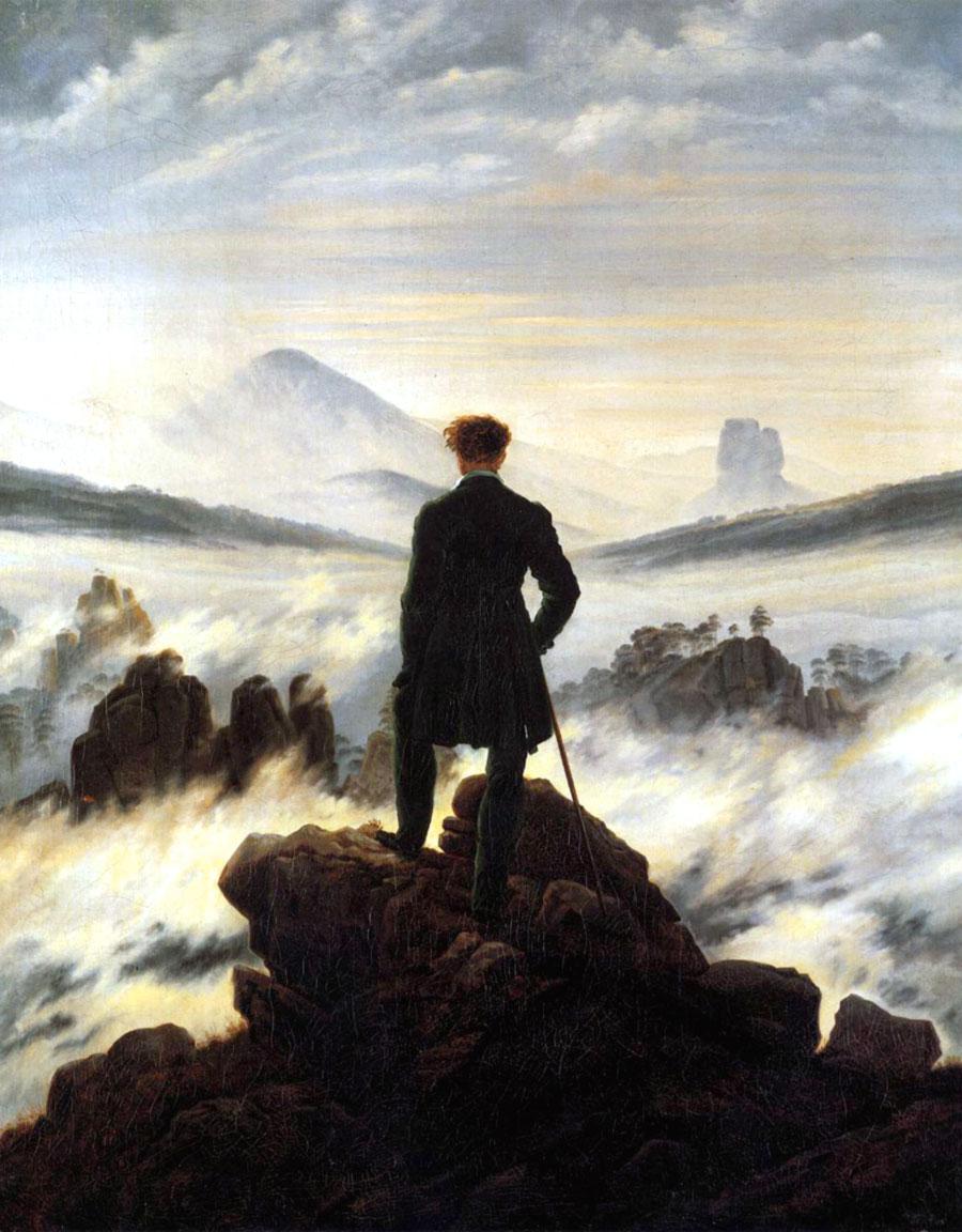 Viandante sul mare di nebbia quadro celebre di Caspar David Friedrich