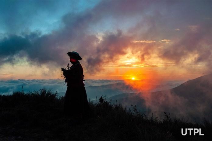 mujer, saraguro, montaña, sol, ecuador, loja