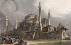 Catedrala Sfanta Sofia, datând din secolul al VI-lea, ulterior reconstruită, fiind moschee din secolul al XV-lea.(litografie de epocă)