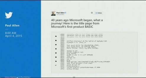 La conmemoración de Paul Allen (Cofundador de Microsoft) por lso 40 años de la empresa.